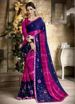 Palak Treditional Blue and Pink Party Wear Saree