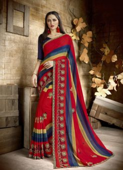 Palak Treditional Red Party Wear Saree