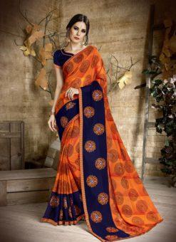 Palak Orange Treditional Party Wear Saree