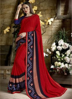 Palak Ambious Red Party Wear Saree