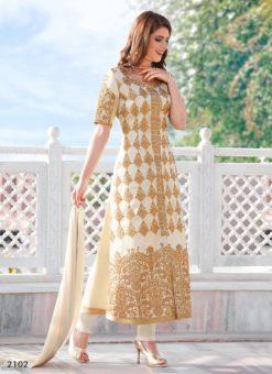 Miraamall Gulzaar 2100 Series Designer White Salwar Kameez