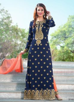 Miraamall Gulzaar 2100 Series Designer Blue Salwar Kameez