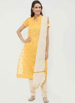 Miraamall Yellow Color Chanderi Cotton Churidar Salwar Kameez