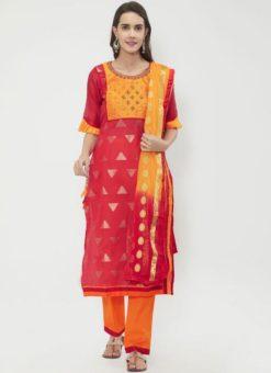 Miraamall Maroon & Mustard Color Chanderi Cotton Churidar Salwar Kameez