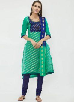 Miraamall Green & Blue Color Chanderi jacquard Churidar Salwar Kameez