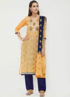 Miraamall Light Orange Color Chanderi jacquard Churidar Salwar Kameez