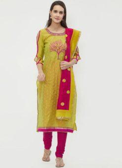Miraamall Green & pink Color Chanderi Cotton Churidar Salwar Kameez