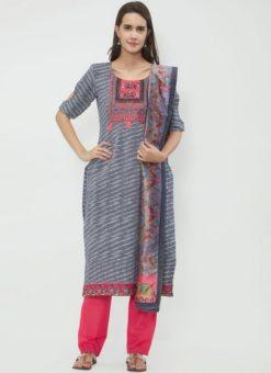 Miraamall Grey Color Cotton Churidar Salwar Kameez