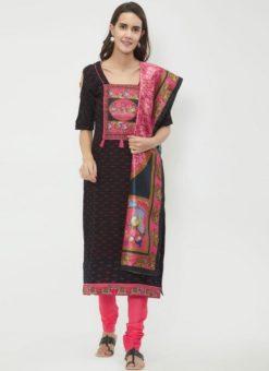 Miraamall Black Color Chicken Cotton Churidar Salwar Kameez