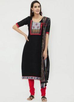Miraamall Black Color Cotton Churidar Salwar Kameez