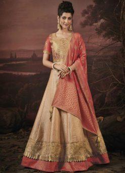 Amazing Beige Satin Silk Designer Semi Stitched Lehenga Choli
