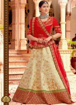Lovely Beige Jacquard Silk Designer Lehenga Choli