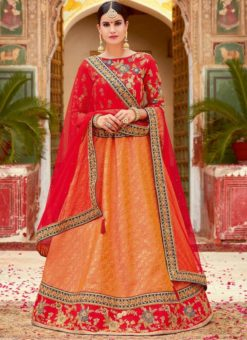 Amazing Orange Jacquard Silk Deisgner Lehenga Choli