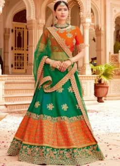Beautiful Green And Orange Jacquard Silk Designer Lehenga Choli