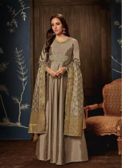 Gowns - Indian Evening Gowns For Party - Brown Gowns