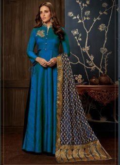 Gowns - Indian Evening Gowns For Party - Blue Gowns