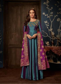Gowns - Indian Evening Party Wear Gown- Bottel Green Gowns
