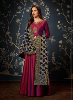 Gowns - Indian Evening Gowns For Party Maroon Color Gowns