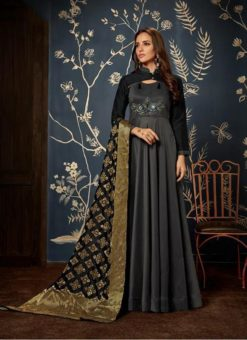 Gowns - Indian Evening Gowns For Party - Grey Gowns