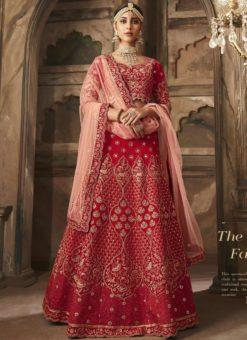 Glorious Red Banarasi Silk Embroidered Work Wedding Lehenga Choli
