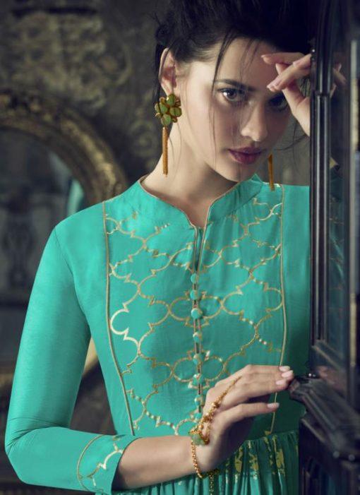Amazing Sea Green Silk Zari Print Designer Anarkali Salwar Kameez