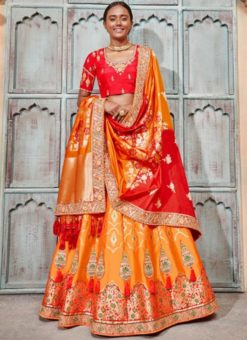 Sensational Orange Jacquard Silk Zari Weaving Designer Lehenga Choli