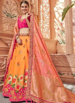 Marvellous Orange Jacquard Silk Zari Weaving Designer Lehenga Choli