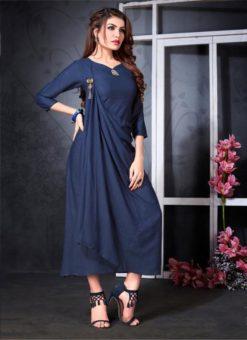 Beautiful Navy Blue Rayon Cotton Designer Party Wear Kurti
