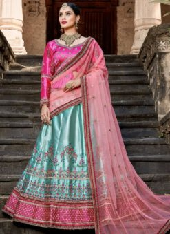 Fetching Sky Blue Satin Resham Work Designer Lehenga Choli