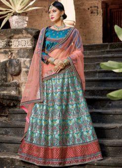 Attractive Sky Blue Satin Resham Work Designer Lehenga Choli