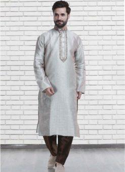 Miraamall Pista Green Art Silk Mens Wear Designer Readymade Kurta Payjama