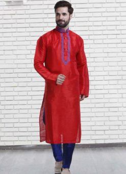 Miraamall Red Art Silk Designer Mens Wear Designer Readymade Kurta Payjama