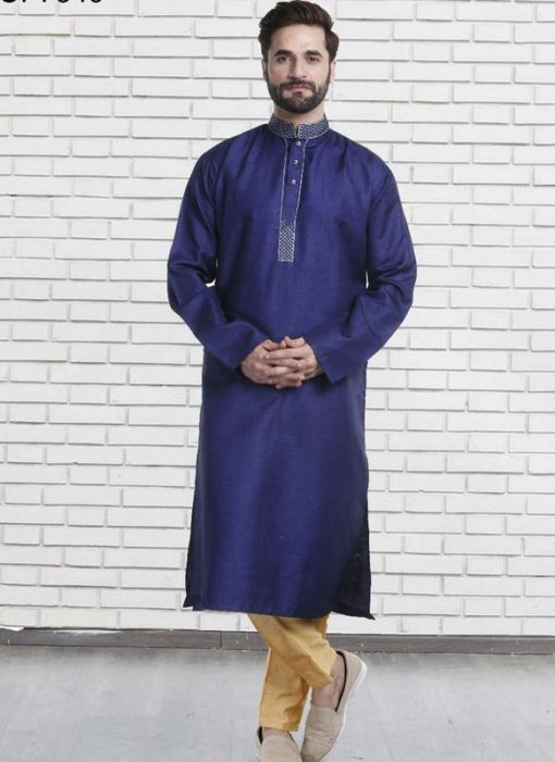 Miraamall Navy Blue Cotton Mens Wear Designer Readymade Kurta Payjama