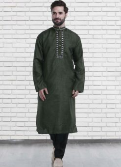 Miraamall Green Cotton Mens Wear Designer Readymade Kurta Payjama