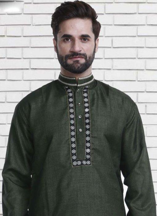 Miraamall Green Cotton Mens Wear Designer Readymade Kurta Payjama