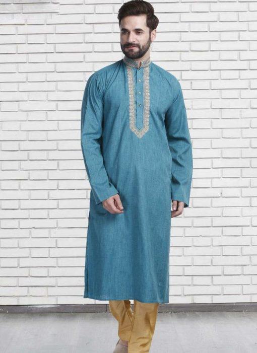 Miraamall Auqa Blue Cotton Mens Wear Designer Readymade Kurta Payjama