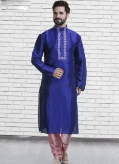 Miraamall Royal Blue Art Silk Mens Wear Designer Readymade Kurta Payjama