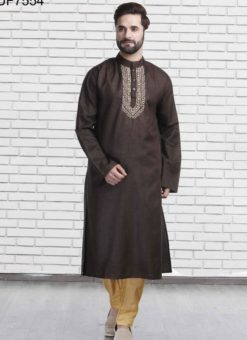Miraamall Brown Cotton Mens Wear Designer Readymade Kurta Payjama