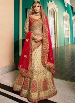 Delightful Beige Silk Embroidered Work Designer Wedding Lehenga Choli