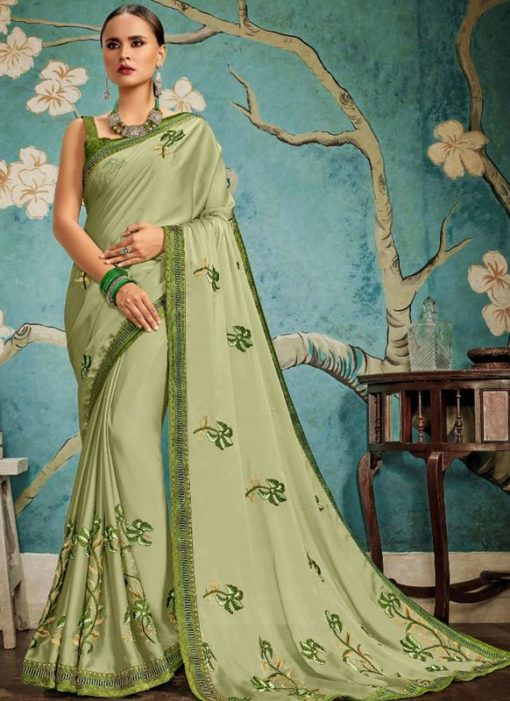 Wonderful Green Art Silk Embroidered Work Party Wear Saree