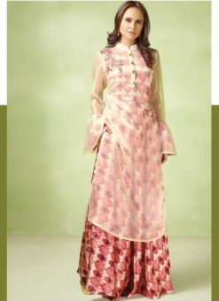 Beautiful Pink And Cream Satin Georgette Designer Party Wear Gown