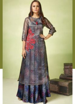 Glorious Blue And Grey Satin Georgette Designer Party Wear Gown