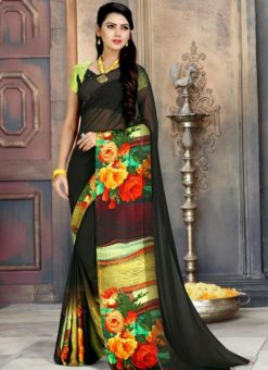 Lovely Black And Multicolor Georgette Printed Casual Wear Saree