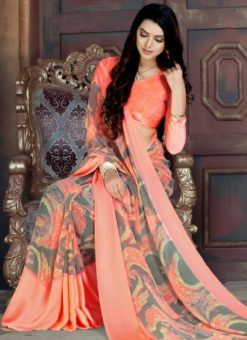 Appealing Peach Geogette Printed Casual Wear Saree