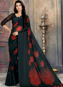 Alluring Black Georgette Printed Casual Wear Saree