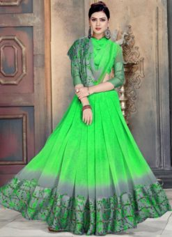 Lovable Green Georgette Printed Casual Wear Saree
