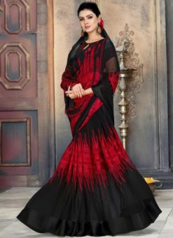 Charming Black And Maroon Georgette Printed Casual Wear Saree