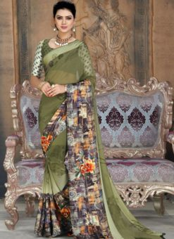 Luxurious Green Georgette Printed Casual Wear Saree