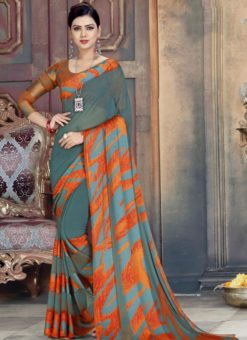 Adorable Grey And Orange Georgette Printed Casual Wear Saree