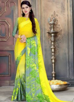 Winsome Yellow And Grey Georgette Printed Casual Wear Saree